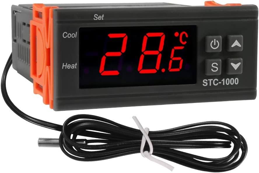 Dorhea STC-1000 Digital Temperature Controller AC 10A 110V-220V Digital LED Temperature Controller Heating Cooling Centigrade Thermostat 2 Relays Output with NTC Sensor Probe(110V/220V)