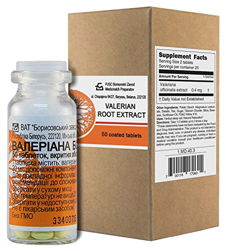 Valerian extract (50 tablets x 20mg) in Glass Vial