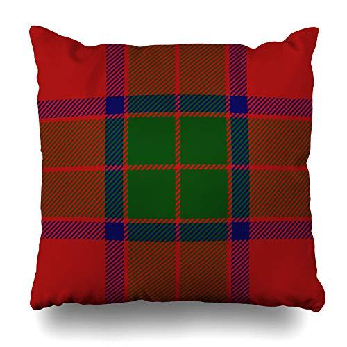- Ahawoso Throw Pillow Cover Madras Blue Checkered Clan Robertson Scottish Tartan Plaid Material Green Detailed Flannel Kilt Decorative Pillow Case Home Decor Square Size 16x16 Inches Pillowcase