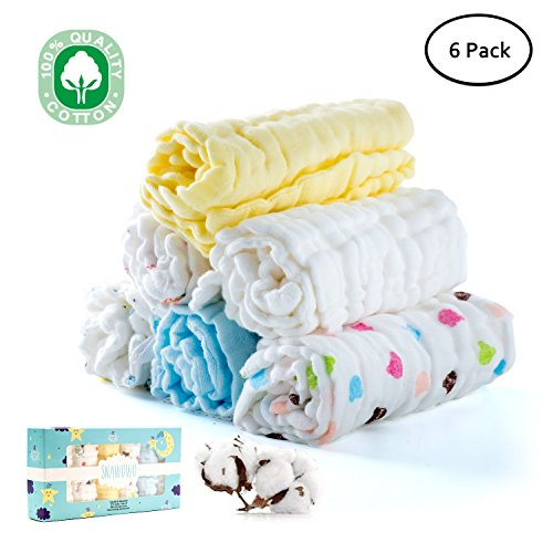 Baby Muslin Washcloths, Face Towel, Baby Wipes, Natural Pure Cotton, Face Towel for Newborn Baby Sensitive Skin as Shower Gift, 6 Pack, 12X12 (Newborn Pure Cotton)