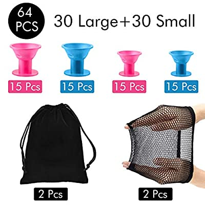 64 Pieces Silicone Hair Curlers Set, 30 Pieces Large Silicone Hair Rollers and 30 Pieces Small Silicone Hair Rollers with Net Cap and Storage Bag