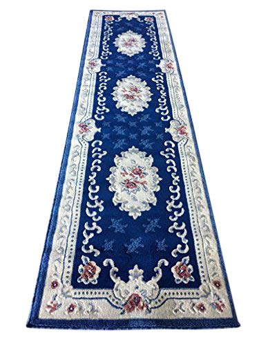 emirates Traditional Long Aubusson Persian Runner Rug Navy Blue with Red Design 507 (31 Inch X 15 Feet 8 ()