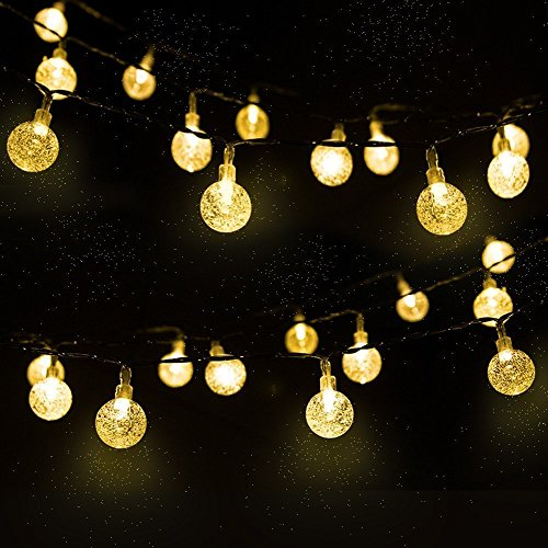 Outdoor Bistro Solar Powered Globe String Lights: Solar Globe String Lights With 30 Bulbs,Backyard Patio