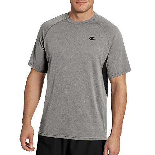 Champion Men's Double Dry Vented Heather Tee with FreshIQ, Oxford Grey/Black, 2XL from Champion