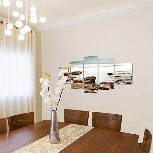 Bilder-Meer-Landschaft-Wandbild-Vlies-Leinwand-Bild-XXL-Format-Wandbilder-Wohnzimmer-Wohnung-Deko-Kunstdrucke-Braun-5-Teilig-100-MADE-IN-GERMANY-Fertig-zum-Aufhngen-610252a