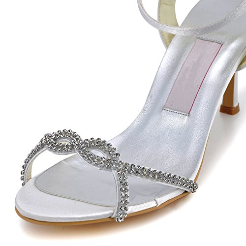 Kevin Fashion mz598Womens Open Toe alto talón Rhinestone sandalias de satén de novia Prom de boda Backstrap marfil