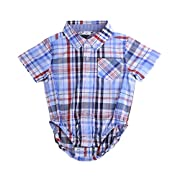 Bebone Baby Boys Girls Plaid Triangle Cotton Shirt (Blue, 0-3M)