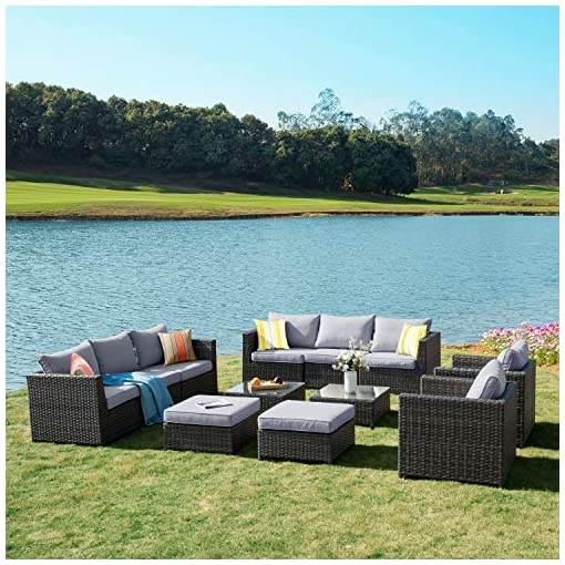 Garden and Outdoor XIZZI Patio Sets,Big Size Outdoor Patio Furniture 12 Pcs, All Weather PE Rattan Furniture with 4 Pillows and and… patio furniture sets