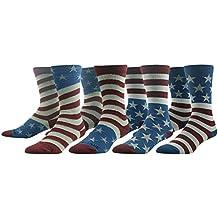 Novelty Crew Socks, Ristake Original Design American Flag Pattern Casual Crew Socks 1/4 Pairs