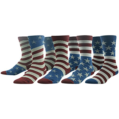 Fun Wedding Socks, Ristake Men's 4 Pairs American Flag Fashion Striped Stars Patterned Cotton Soft Durable Office Casual Dress Crew Socks for Groomsmen Wedding Chritmas - Flag American Fashion