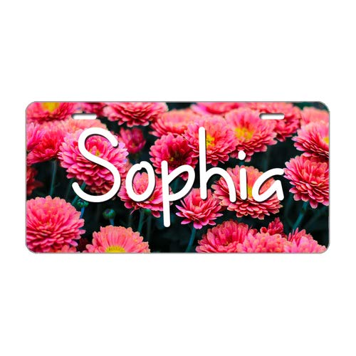 - Tobe Yours License Plate Name Sophia Personalized Red Flowers Printed Auto Front Tag Aluminum Metal License Plate Cover Frame for Car 6