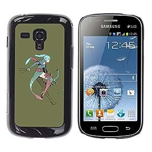 QCASE / Samsung Galaxy S Duos S7562 / chica anime de hadas grandes orejas azul guerrero de pelo / Delgado Negro Plástico caso cubierta Shell Armor Funda Case Cover