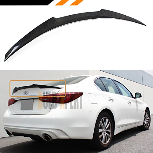 - Cuztom Tuning for 2014-2018 Infiniti Q50 JDM M4 Style Carbon Fiber Trunk LID Spoiler Wing