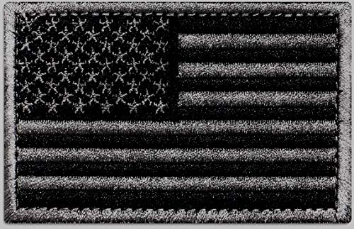 Ever Craft American Black Flag Patch - Heavy Duty for Tactical Gear or USA Military Uniform - Premium Hook and Loop Tactical Patches for Backpacks Caps Hats Jackets Pants (Black & Gray)
