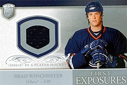Image Unavailable. Image not available for. Color  Brad Winchester player  worn jersey patch hockey card (Edmonton Oilers) 2006 Upper Deck First f5cfad93c