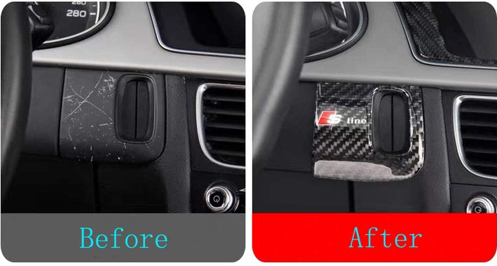 Carbon Fiber Ignition Switch Keyhole Key Box Frame Decal Cover Trim for Audi A4 A5 S5