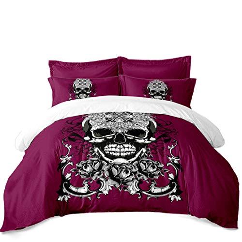 JARSON Girls Sugar Skull Bedding Set Floral Printed Duvet Cover Set King Size Day of The Dead Bedding