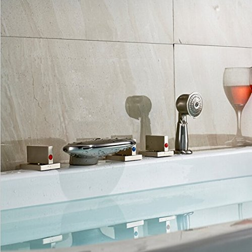 GOWE LED Color Changing Waterfall Bathroom Tub Faucet Brushed Nickel Sink Mixer Tap 1