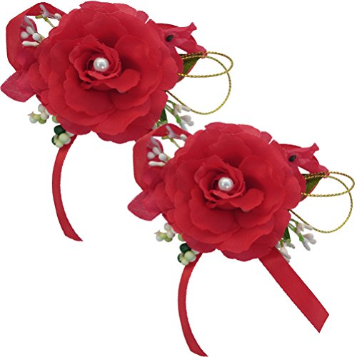 Arlai 2pcs Prom Brooch Pin for Wedding,Prom,Dance,Homecoming. Atificial Flower (Red)