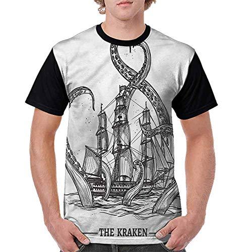 BlountDecor Teen t-Shirt,Octopus Ship Adventure Fashion Personality Customization