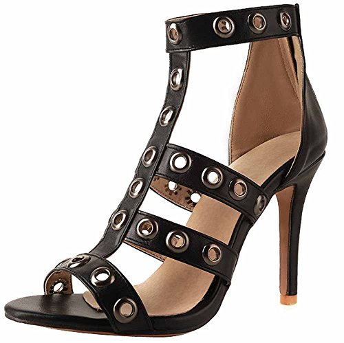 romano Black grande Mujer Charol Zapatillas Tacón Verano Ahuecado Talla 43 40 Remaches alto GLTER Sandalias 6awqHf6E
