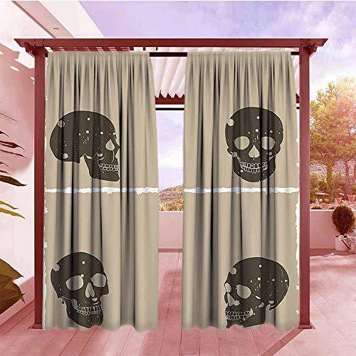 Rod Pocket Window Curtain Panel Grunge Skull Figure on Murky Flat Framework Halloween Crossbones Spooky Monster Image Energy Efficient, Darkening W120x84L Tan Dark Taupe]()