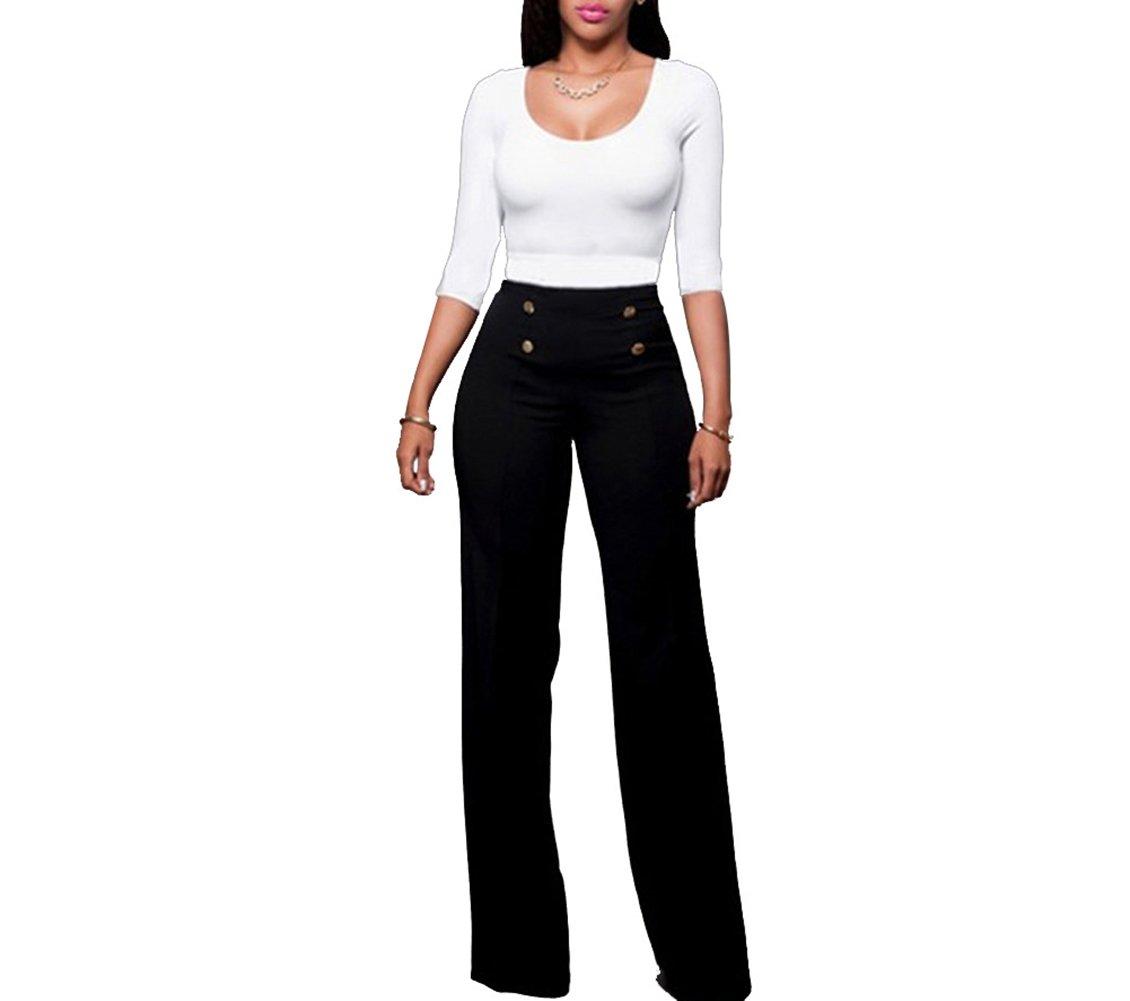 LKOUS Women's Stretchy High Waisted Wide Leg Button-Down Pants