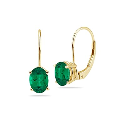 ea035c3b091f5 2.33-2.70 Cts of 8x6 mm AAA Oval Russian Lab Created Emerald Stud Earrings  in 14K Yellow Gold