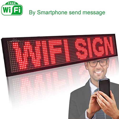 Leadleds P5 Wi-fi Scrolling LED Sign Message Board for Business, Working with Smartphone and Tablet (Red) Digital Sign