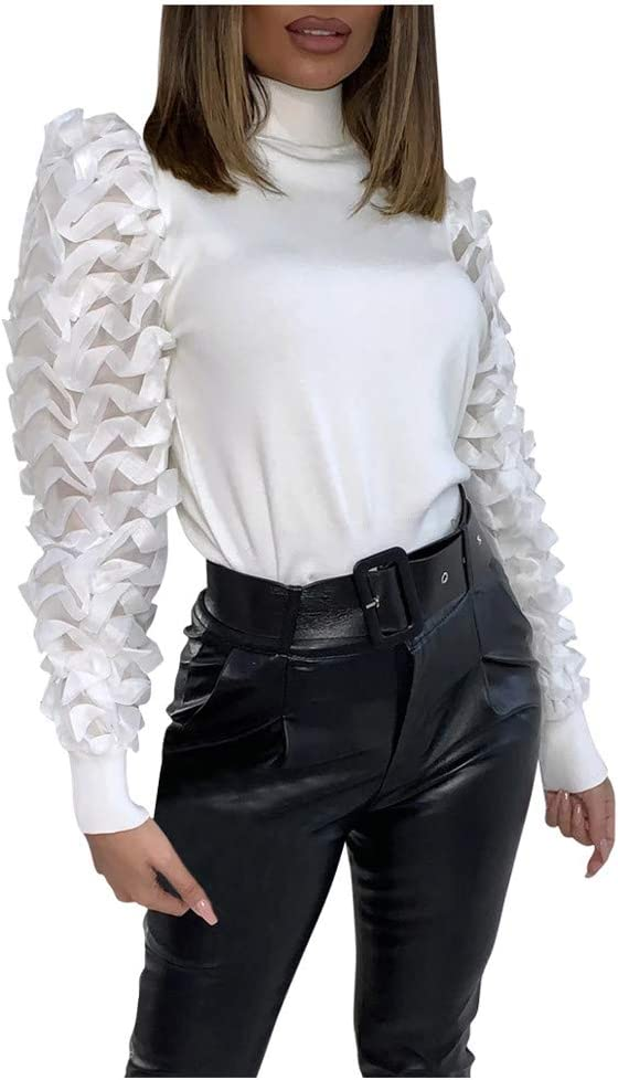 Lenfesh Primavera/Verano Blanco Mujer Pure Color Turtleneck Puff Sleeve Organza Stitching Slim Fit T-Shirt Top: Amazon.es: Ropa y accesorios