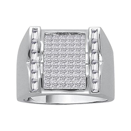 KATARINA Baguette and Princess Cut Diamond Men's Ring in 10K White Gold (1 7/8 cttw, G-H, VS2-SI1) (Size-10.5)