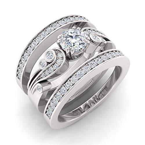 Diamondere Natural and IGI Certified Diamond Engagement Ring Set in 14K White Gold   0.95 Carat Trio Wedding Ring Sets, US Size 6