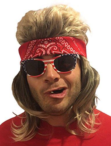MULLET WIG, BANDANA & SUNGLASSES - Hillbilly Costume (Red Bandana & USA Sunglasses) - Hillbilly Costumes