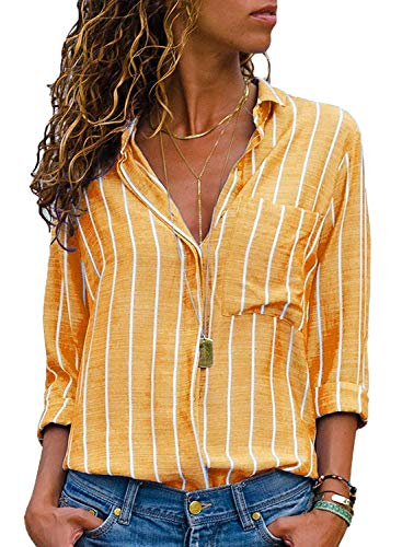 - Women's Stripes Button Down Shirts Roll-up Sleeve Tops V Neck Casual Work Blouses Large Yellow