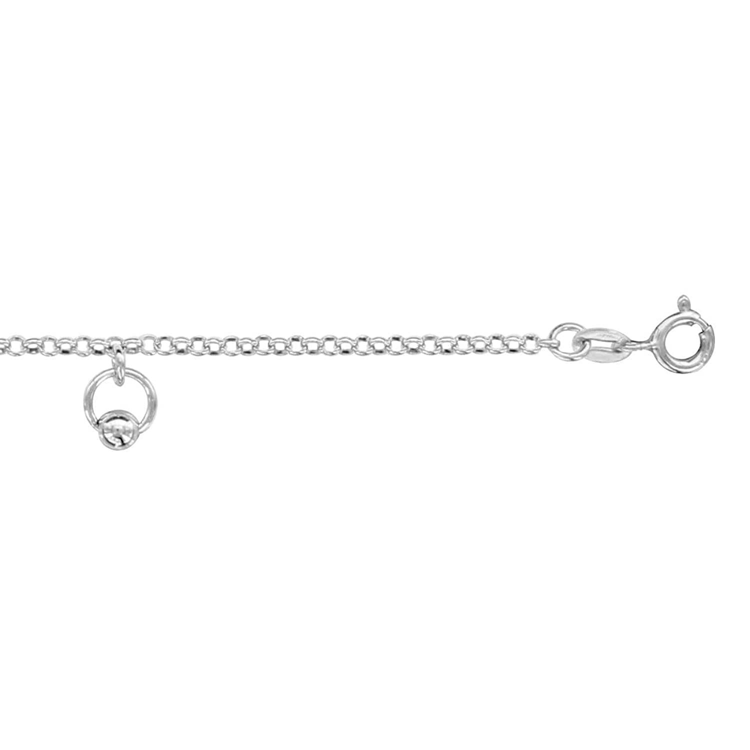 So Chic Jewels - 925 Sterling Silver Adjustable Length: 20 to 24 cm Rings & Balls Charms Chain Anklet