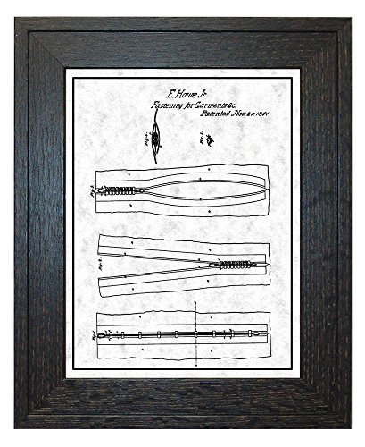 Zipper Patent Art Gunmetal Print with a Border in a Rustic O
