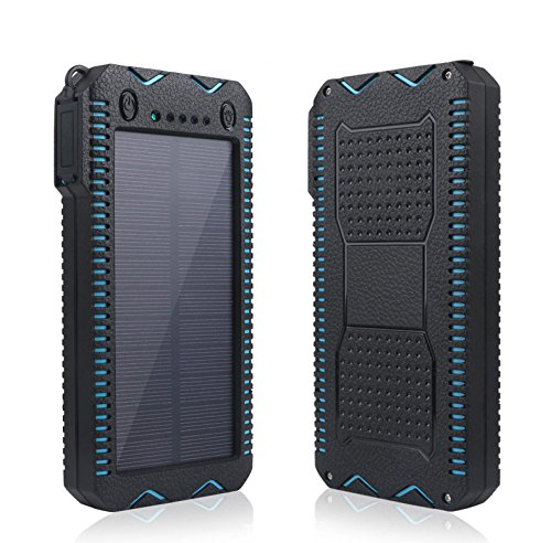 15000mAh Solar Charger with Cigarette Lighter Function Outdoor Camping Waterproof Power Bank Protable External Battery Dual LED Flashlight for iPhone iPad Cell Phones (Blue)