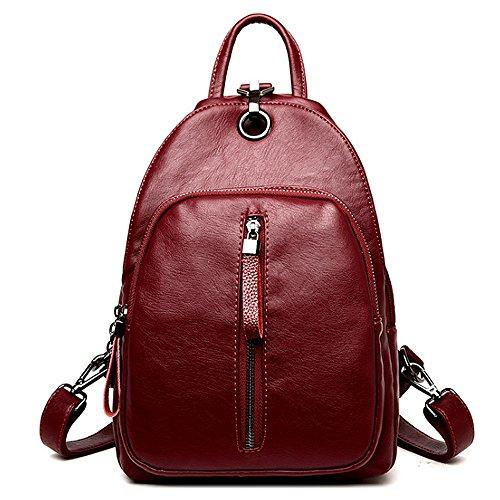 (JVP1066-R) Luc Sheep mochila de cuero resistente al agua Cute 5 colores de cuero natural bolso de gran capacidad para las niñas Fashion Fashion Bag ligero mochila Commuter School Vino Tinto