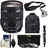 Sigma 24-70mm f/2.8 ART DG OS HSM Zoom Lens with 3 Filters + Backpack + Sling Strap + Kit for Canon EOS Digital SLR Cameras
