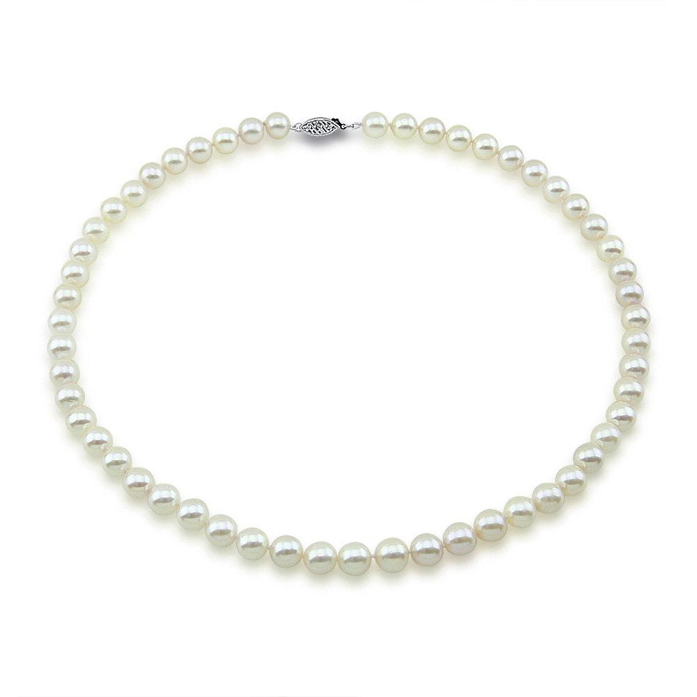 14k White Gold 7.0-7.5mm High Luster White Japanese Akoya Cultured Pearl Necklace 18'', AAA Quality by Akwaya (Image #1)