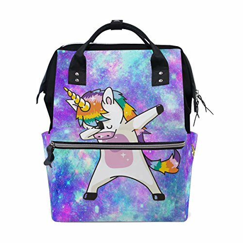 Dab Unicorn Backpack for Girls Large Cute School Backpack Galaxy Bookbag Wide Open Doctor Style Casual Backpacks Canvas 11x 7 x 15.7 for Girls Women Students