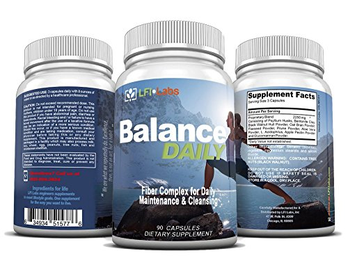 Balance Daily Fiber & Probiotic Detox — Your Daily Pure Maintenance Cleanse, with Fiber and Probiotic to Eliminate Toxins and Lose Weight. Maximum Strength and Doctor Recommended — 90 Capsules
