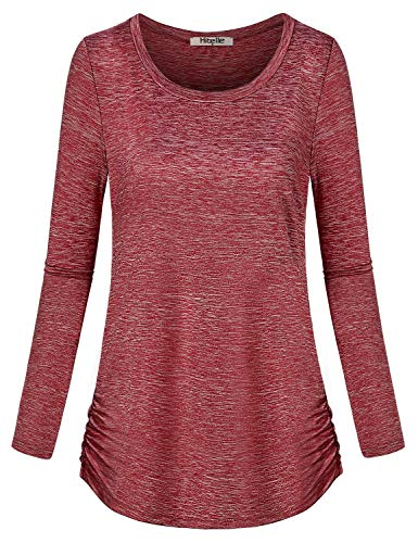 Hibelle Dry Fit Shirts Women, Womans Athletic Tops Yoga Tunic Sweatshirt for Leggings Long Sleeve Scoop Neck Lightweight Workout Apparel A Line Side Shirring Clothing Wine Red Large