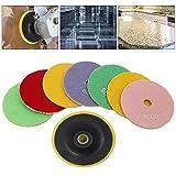Wrightus Stone Polishing Kit 100mm 4 inch Diamond Polishing Pads Wet Grinding Discs for Granite Concrete Marble 9pcs (1 Sticky Disc)