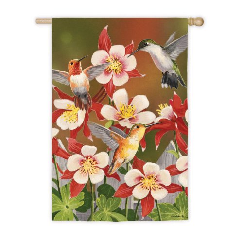 Flurry of Hummingbirds Vertical Flag