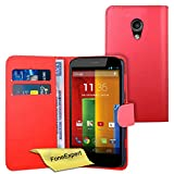 Moto G 2nd gen Case, FoneExpert® Premium Leather Flip Book Wallet Case Cover For Motorola Moto G 2nd gen (2014) + Screen Protector & Cloth (Red)