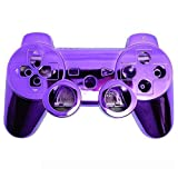 XFUNY® Chrome Finished Replacement Shell Case Cover Housing Kits with Buttons for Sony PlayStation 3 PS3 Controller (Purple)