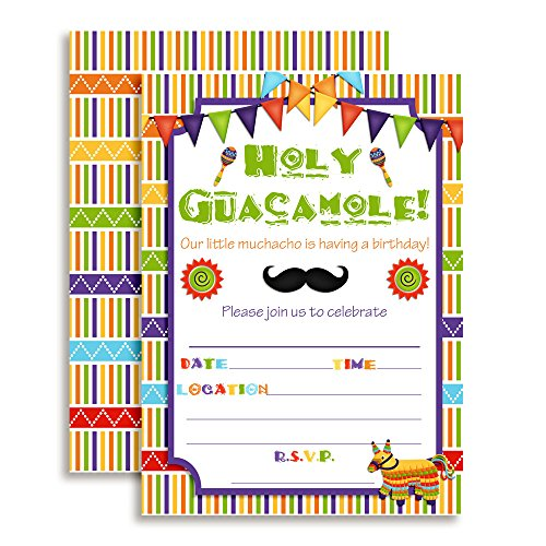 Fiesta Holy Guacamole Muchacho Birthday Celebration Invitations for Boys, Ten 5
