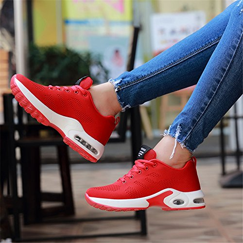 Running Running Unisex Shock Shoes New Red Lightweight Fitness Air Trainer Trainers kashiwu Shoes Trainers Gym Jogging Sports Women's Absorbing wIRwz1