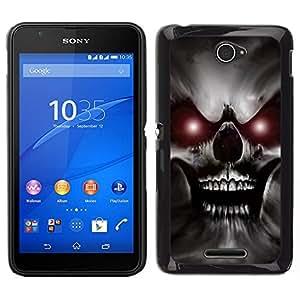 EJOY---Cubierta de la caja de protección para la piel dura ** Sony Xperia E4 ** --Skull Red Eyes Devil Evil Villain Monster